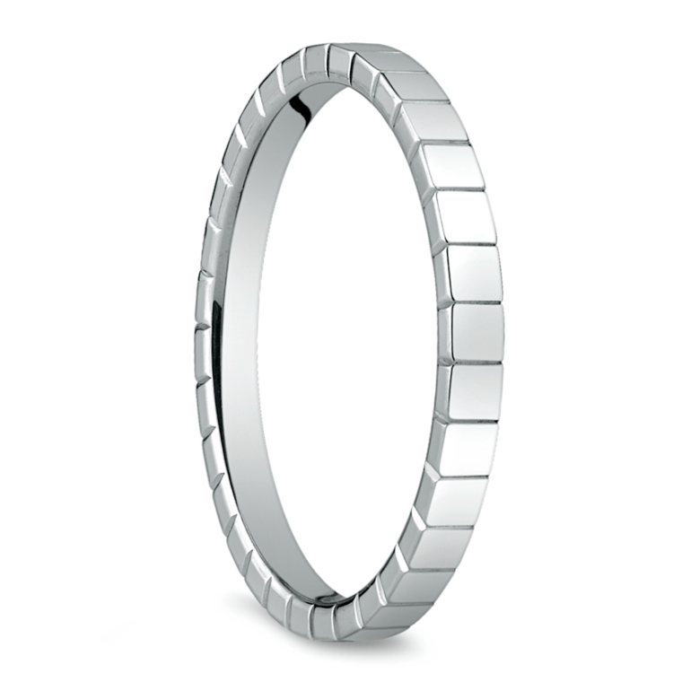 Carved Wedding Ring in White Gold | 02