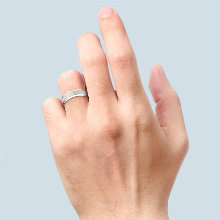 Carved Beveled Men's Wedding Ring in Platinum   04