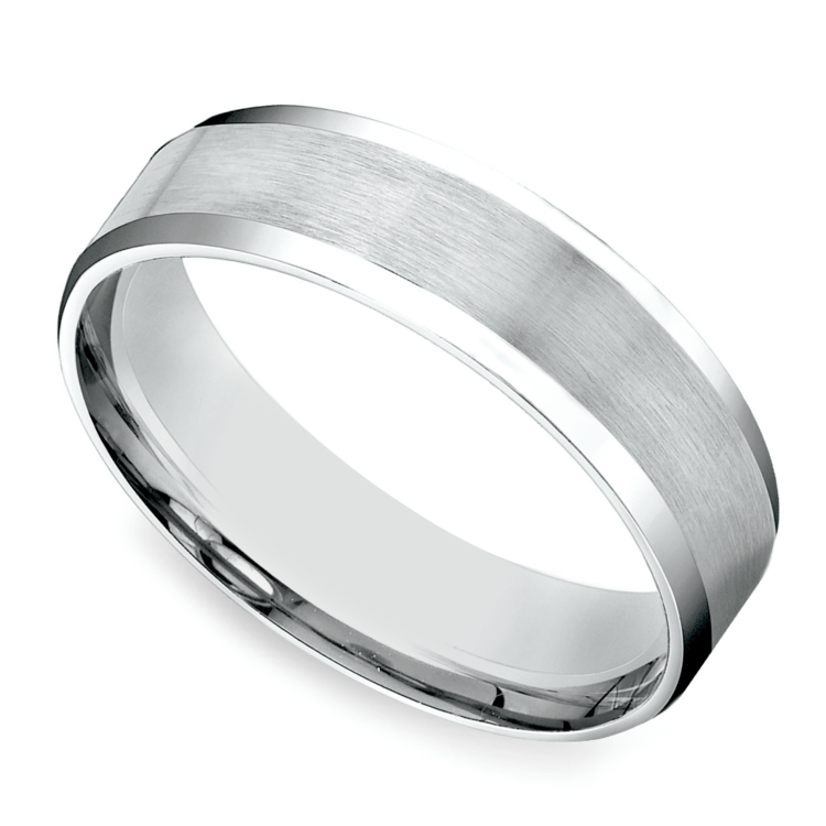 Carved Beveled Men's Wedding Ring in Platinum | 01