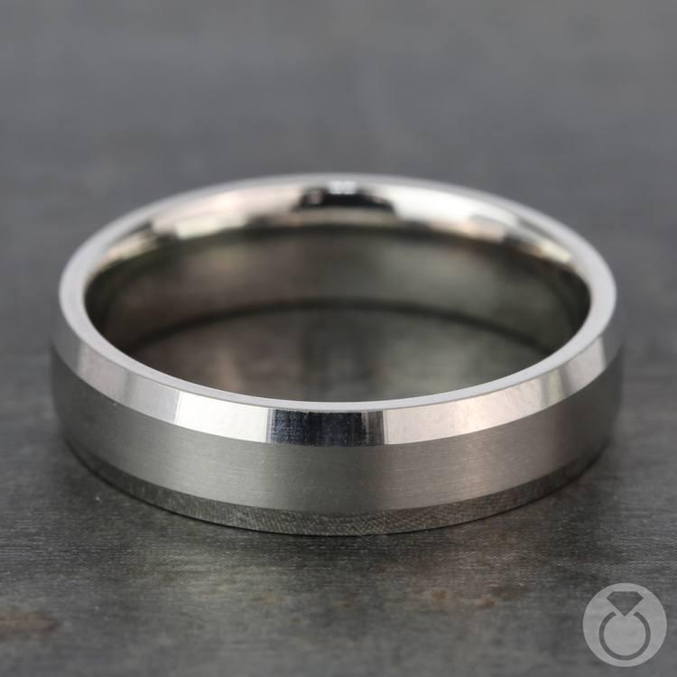 Carved Beveled Men's Wedding Ring in Platinum | 03
