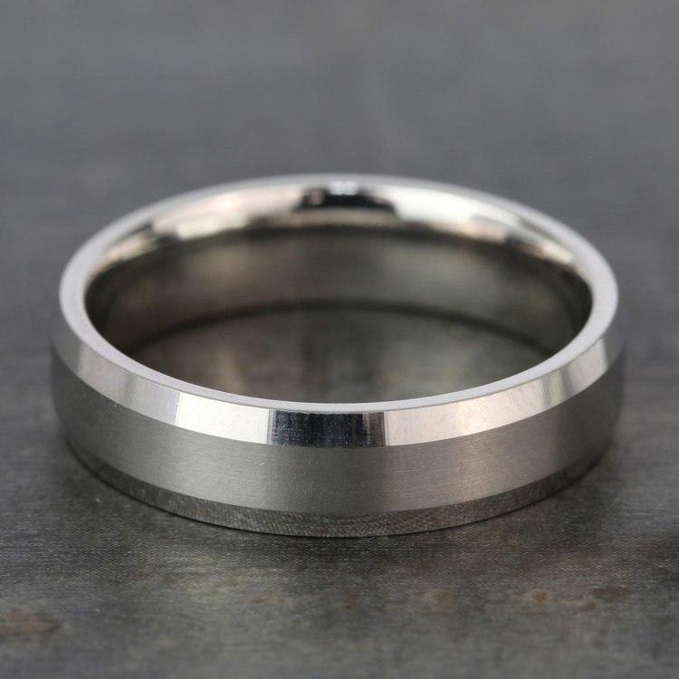 Carved Beveled Men's Wedding Ring in Platinum   03