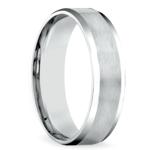 Carved Beveled Men's Wedding Ring in White Gold | Thumbnail 02
