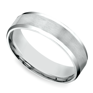 Carved Beveled Men's Wedding Ring in White Gold