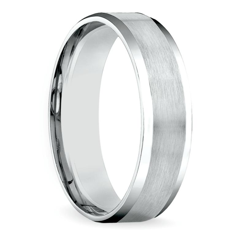 Carved Beveled Men's Wedding Ring in White Gold | 02