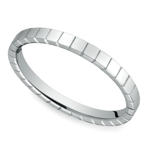 Carved Men's Wedding Ring in 14K White Gold  | Thumbnail 01
