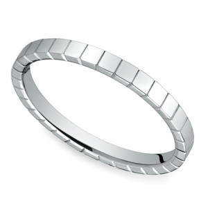 Carved Men's Wedding Ring in 14K White Gold