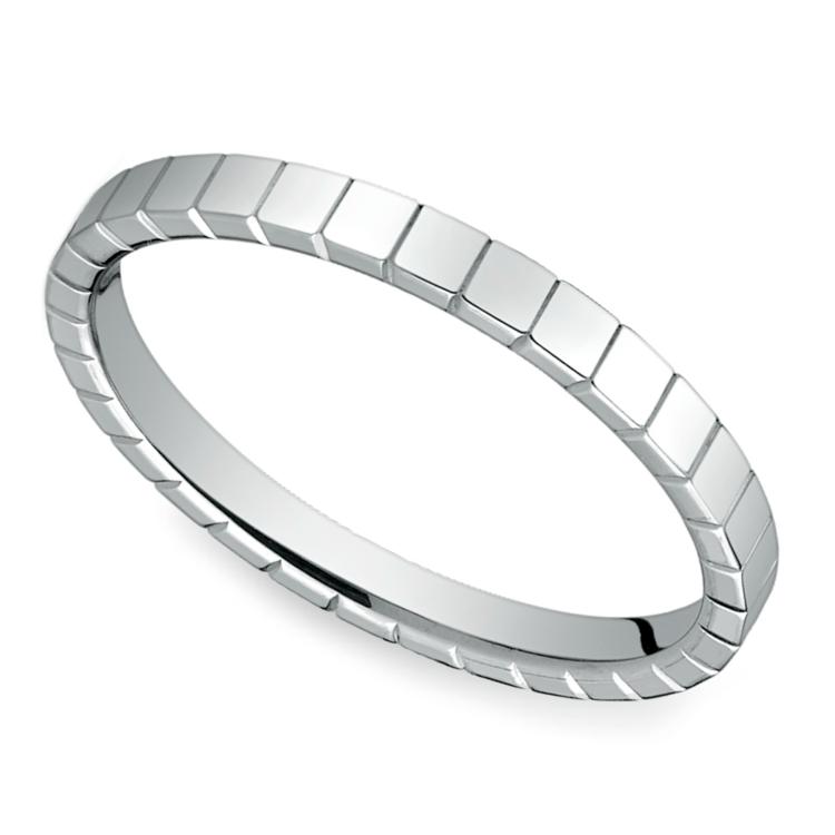 Carved Men's Wedding Ring in 14K White Gold  | 01