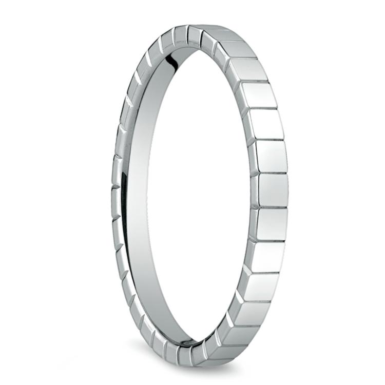 Carved Men's Wedding Ring in 14K White Gold  | 02