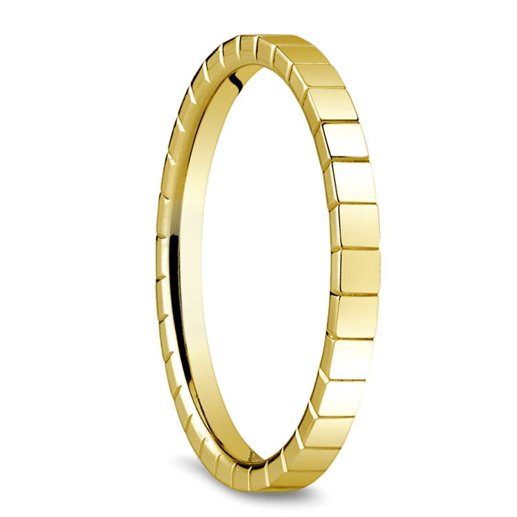 Carved Men's Wedding Ring in 14K Yellow Gold | 02