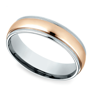 Carved Milgrain Men's Wedding Ring in White & Rose Gold
