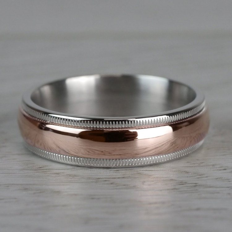 Carved Milgrain Men's Wedding Ring in White & Rose Gold | 03