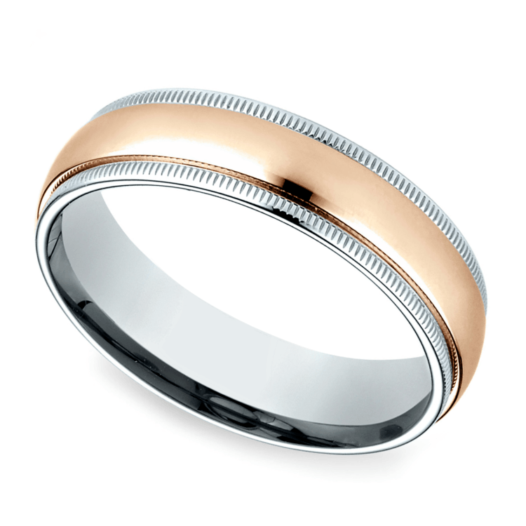 Carved Milgrain Men S Wedding Ring In White Rose Gold