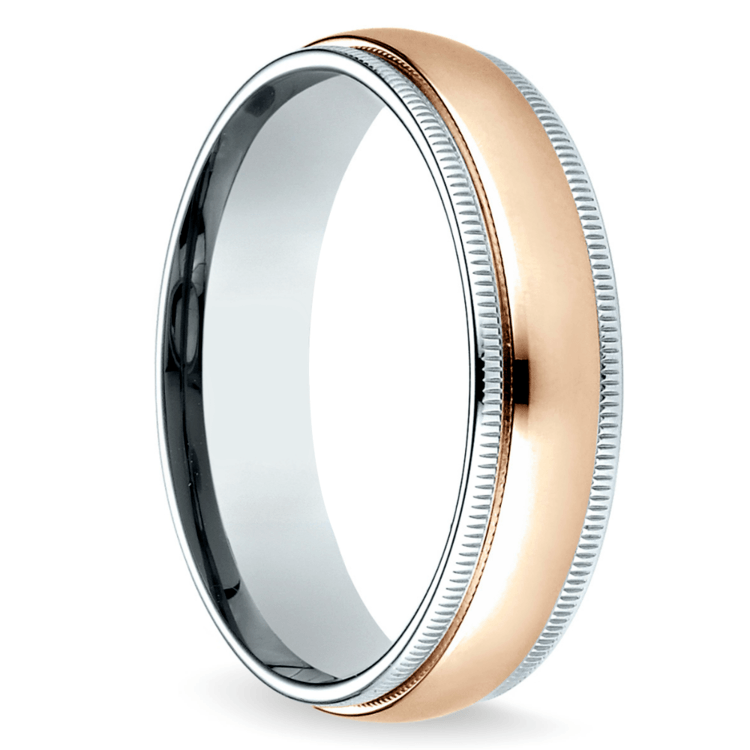 Carved Milgrain Men's Wedding Ring in White & Rose Gold | 02