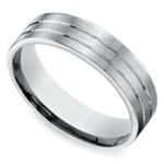 Carved Satin Men's Wedding Ring in Palladium | Thumbnail 01