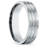 Carved Satin Men's Wedding Ring in Palladium | Thumbnail 02