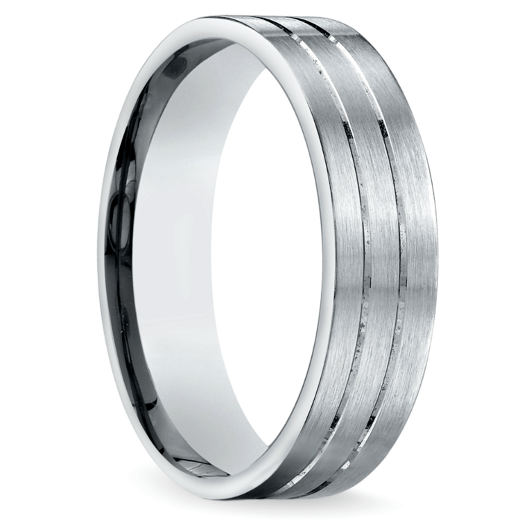 Carved Satin Men's Wedding Ring in Palladium | 02