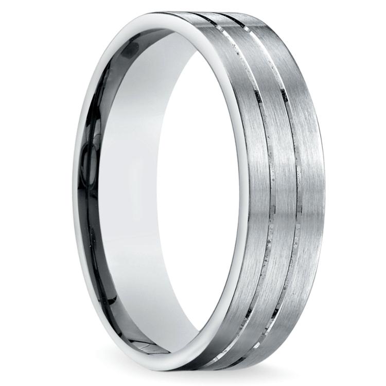 Carved Satin Men's Wedding Ring in Platinum | 02