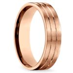 Carved Satin Men's Wedding Ring in Rose Gold | Thumbnail 02