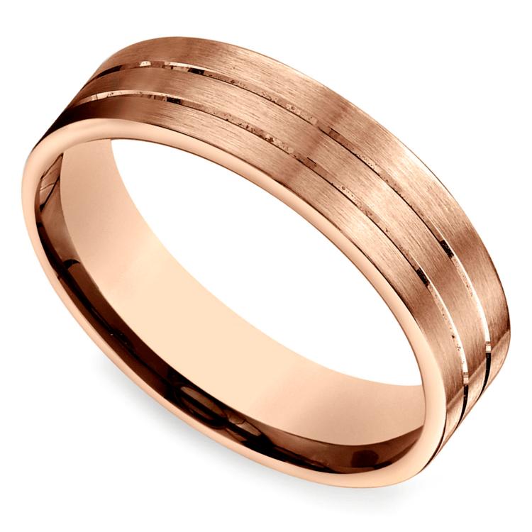 Carved Satin Men's Wedding Ring in Rose Gold | 01