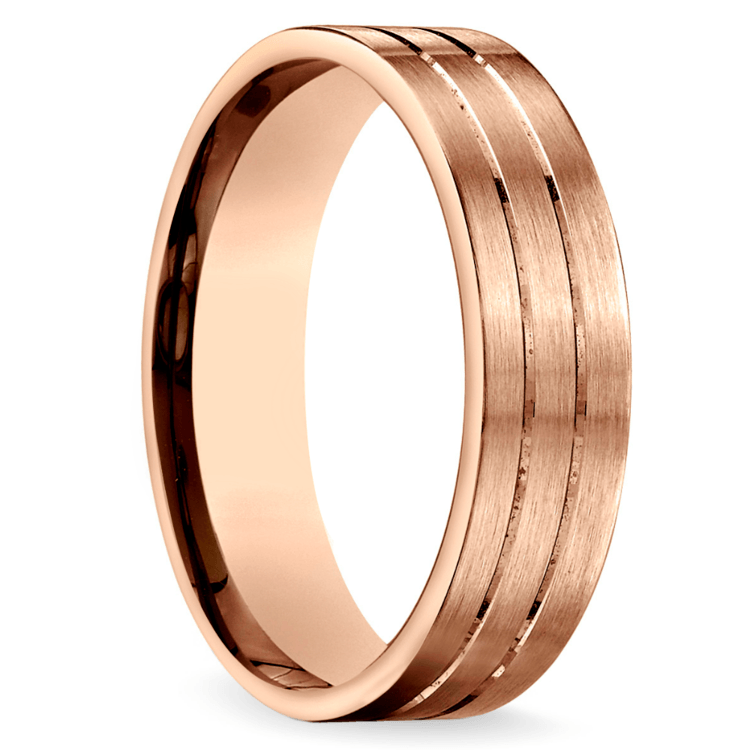 Carved Satin Men's Wedding Ring in Rose Gold | 02