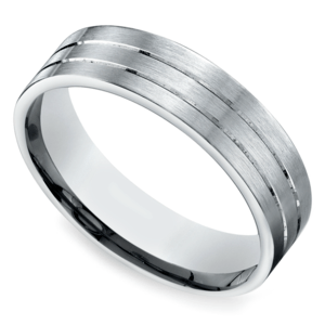Carved Satin Men's Wedding Ring in White Gold