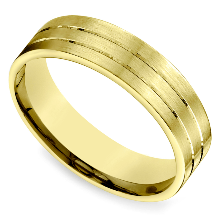 Carved satin men39s wedding ring in yellow gold for Mens carved wedding rings