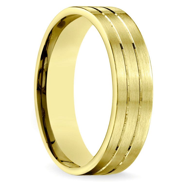 Carved Satin Men's Wedding Ring in Yellow Gold | 02
