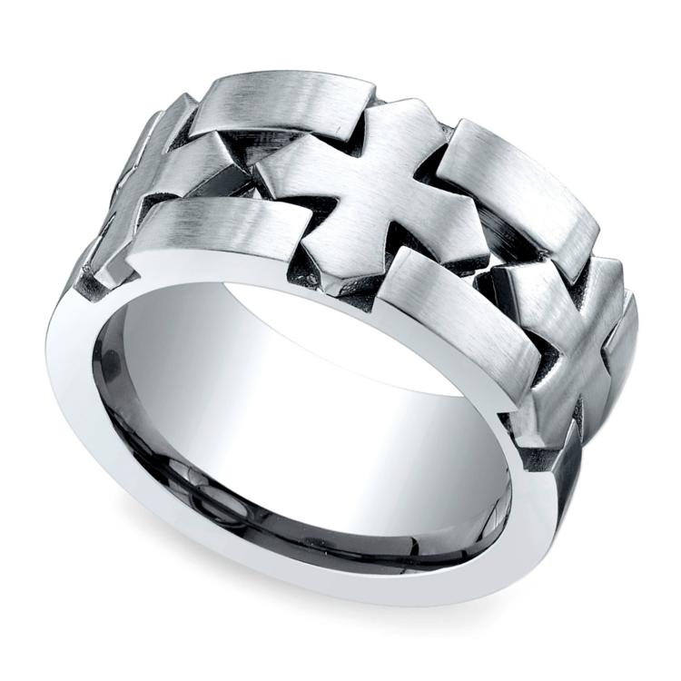 Celtic Cross Men's Wedding Ring in Cobalt | 01
