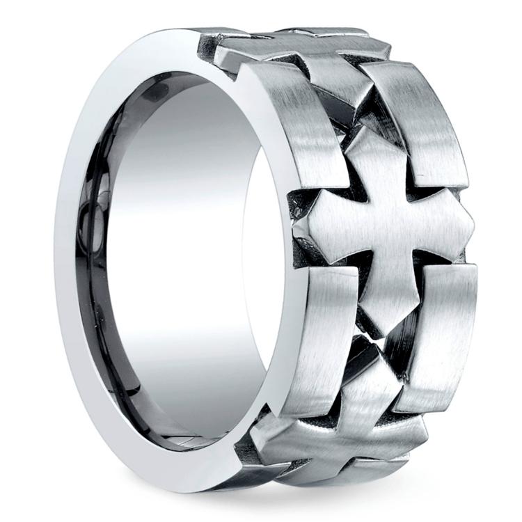 Celtic Cross Men's Wedding Ring in Cobalt | 02