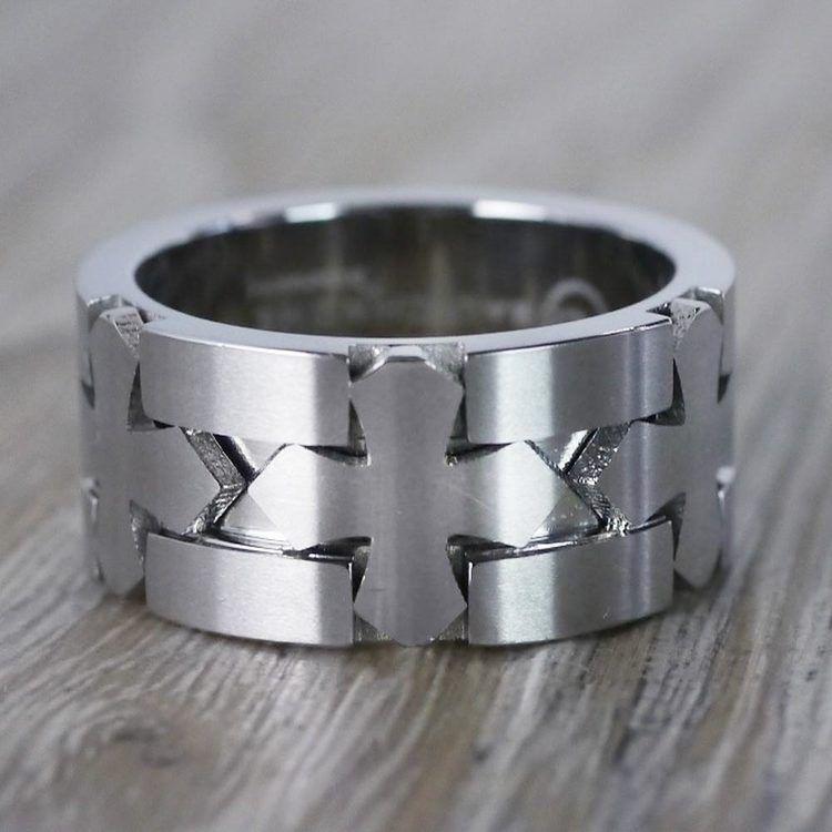 Celtic Cross Men's Wedding Ring in Cobalt | 04
