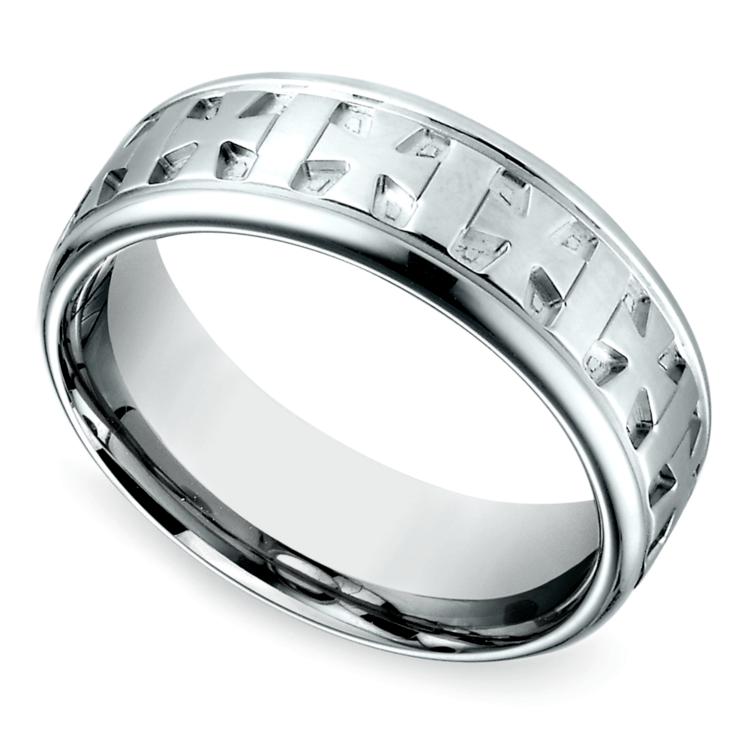 Maltese Celtic Cross Men's Wedding Ring in White Gold  | 01
