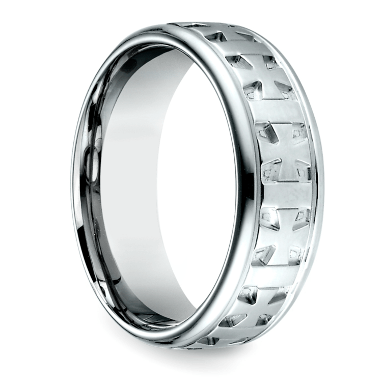 Celtic Cross Mens Wedding Ring In White Gold