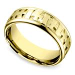 Celtic Cross Men's Wedding Ring in Yellow Gold  | Thumbnail 01