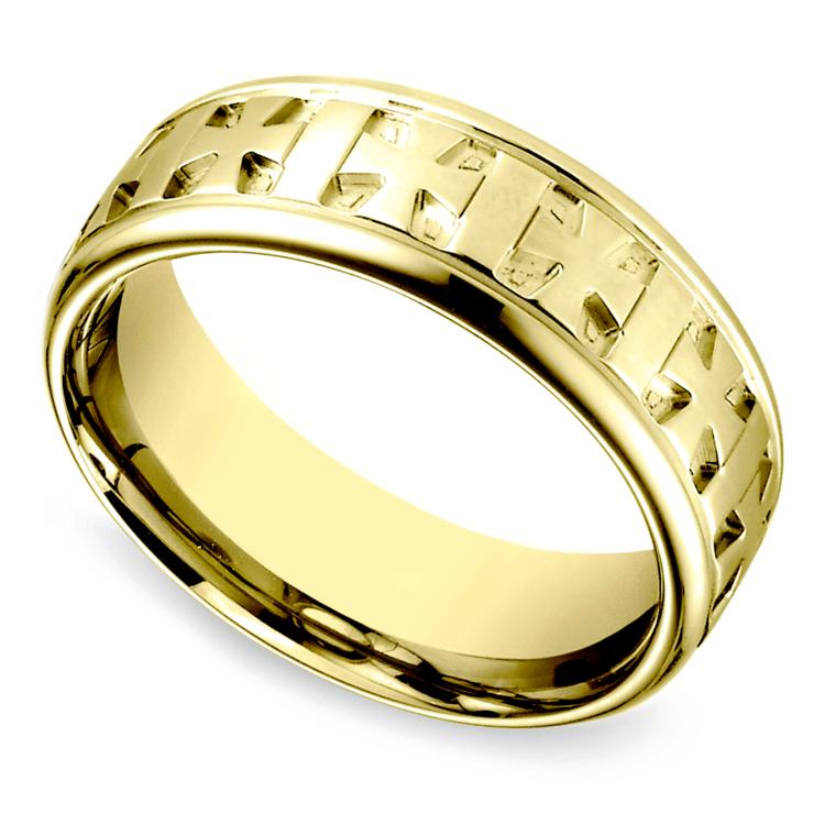 Celtic Cross Men's Wedding Ring in Yellow Gold  | 01