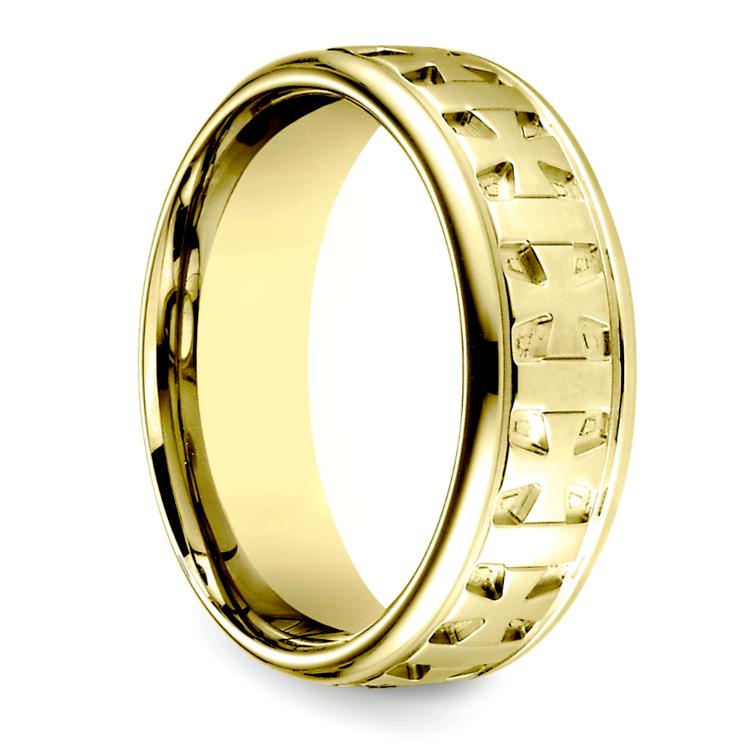 Celtic Cross Men's Wedding Ring in Yellow Gold  | 02