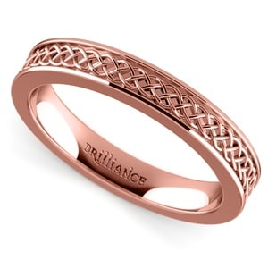 Celtic Knot Men's Wedding Ring in Rose Gold