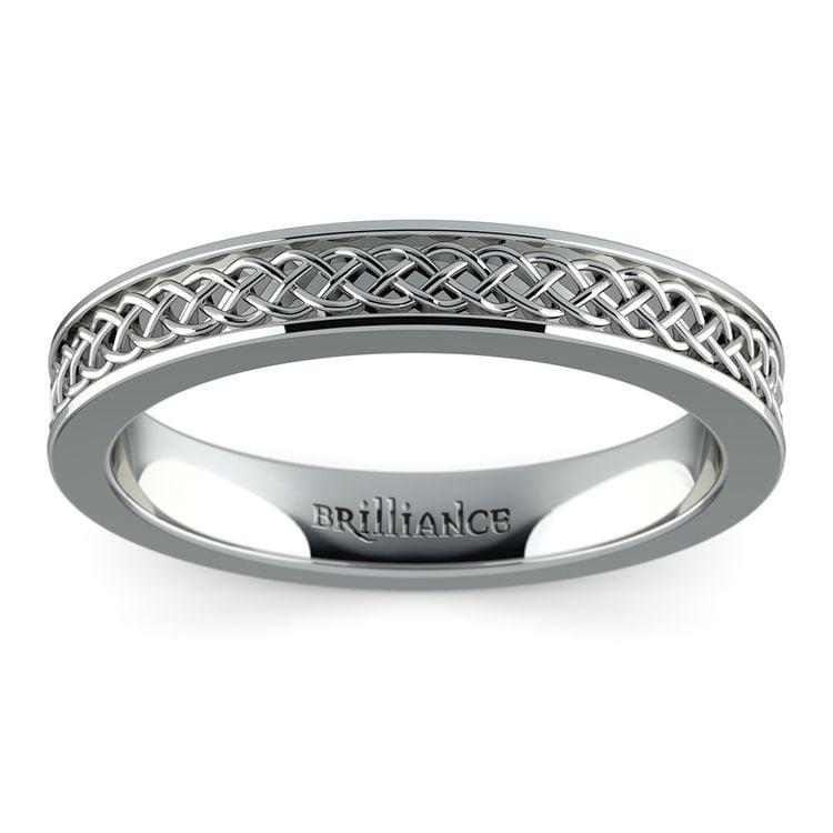 Celtic Knot Men's Wedding Ring in White Gold | 02