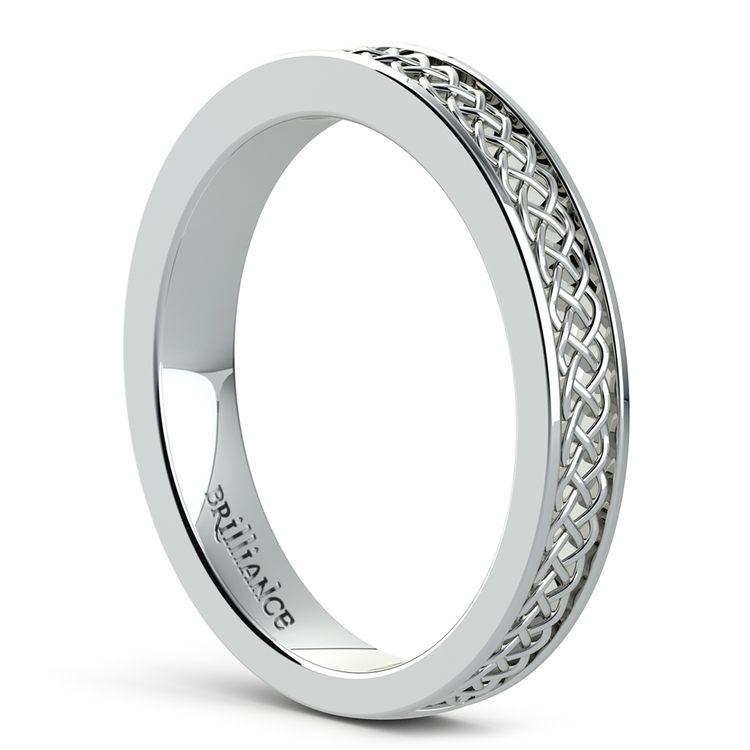Celtic Knot Men's Wedding Ring in White Gold | 04