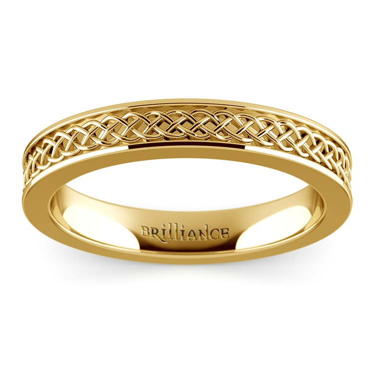 Celtic Knot Men's Wedding Ring in Yellow Gold | 02