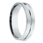 Center Cut Carved Men's Wedding Ring in Palladium | Thumbnail 02