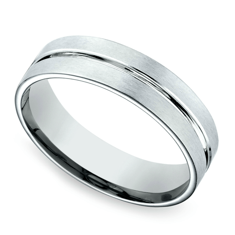 Center Cut Carved Men's Wedding Ring in Palladium | 01