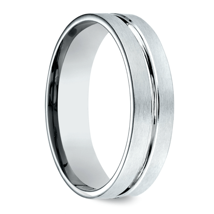 Center Cut Carved Men's Wedding Ring in Palladium | 02