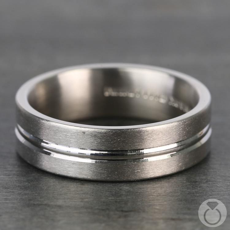 Center Cut Carved Men's Wedding Ring in Palladium | 03