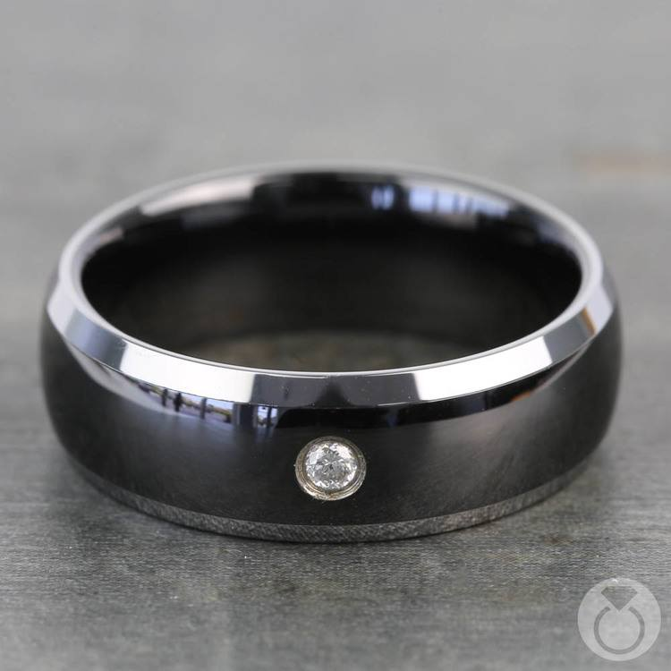 Ceramic Inlay Diamond Men's Wedding Ring in Tungsten  | 03