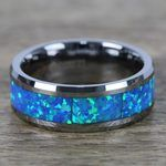 Cerulean - Blue Green Opal Inlay Men's Wedding Ring in Tungsten | Thumbnail 04