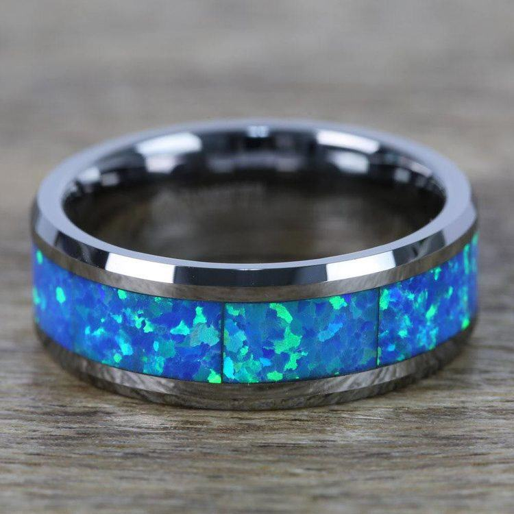 Cerulean - Blue Green Opal Inlay Men's Wedding Ring in Tungsten | 04