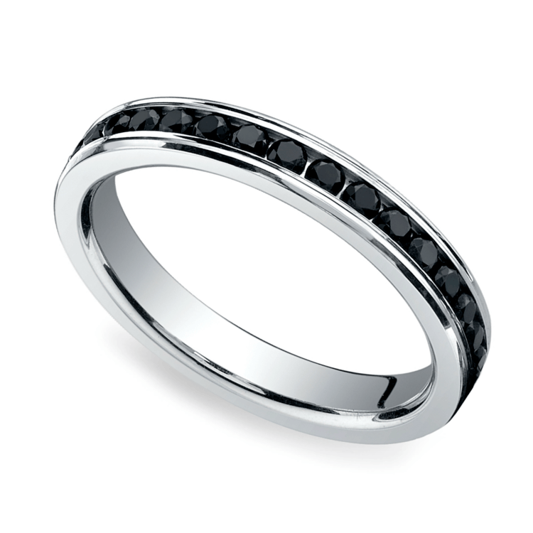 Channel Black Diamond Eternity Ring in Platinum | 01