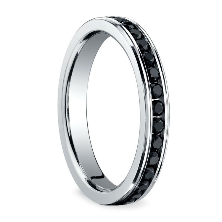 Channel Black Diamond Eternity Ring in Platinum | 02