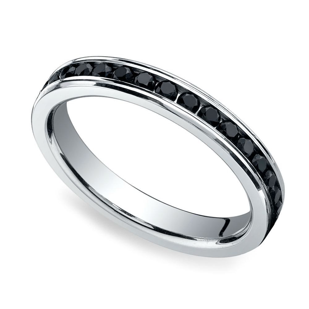 channel black diamond eternity ring in platinum. Black Bedroom Furniture Sets. Home Design Ideas