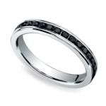 Channel Black Diamond Eternity Ring in White Gold | Thumbnail 01